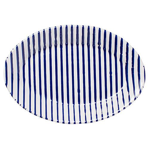 Net & Stripe Oval Stripe Platter, Blue