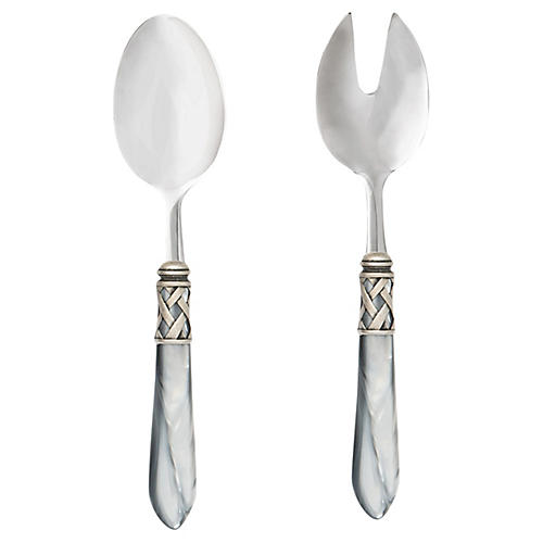 Aladdin Brilliant Salad Server Set, Silver