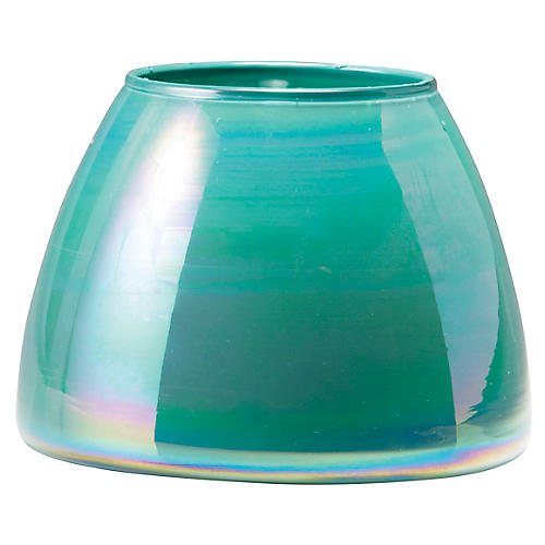 Italian Glass Votive, Aqua