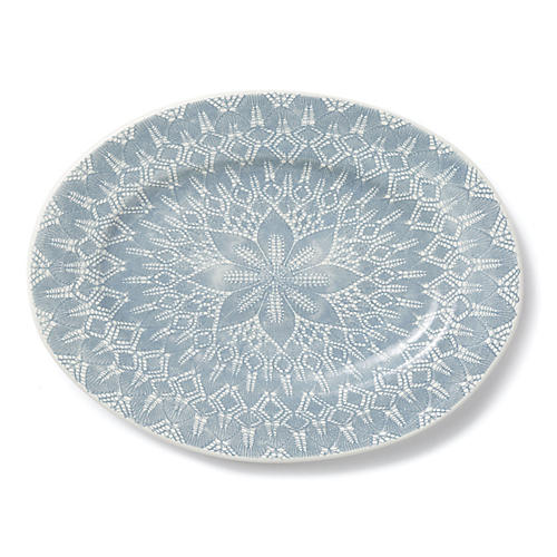 Lace Rimmed Oval Platter, Gray