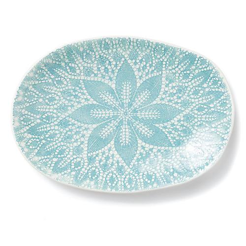 Lace Oval Platter, Light Aqua