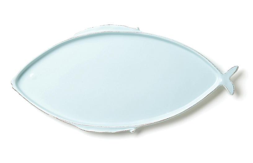 Lastra Melamine Fish Oval Platter - Aqua - VIETRI