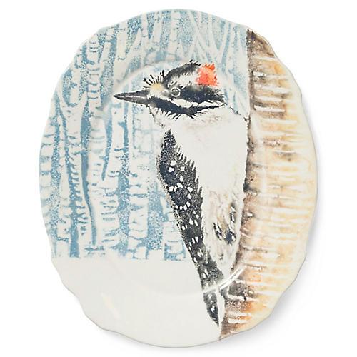 Into the Woods Woodpecker Oval Platter, Light Blue