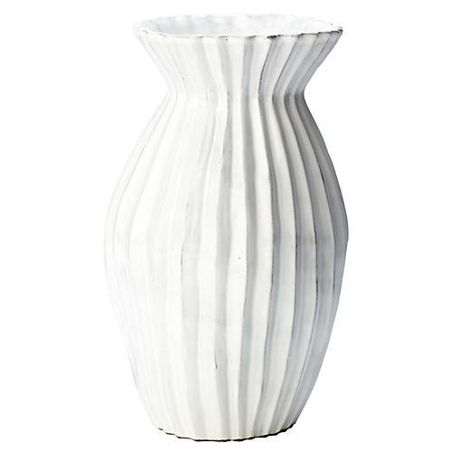 """8"""" Incanto Pleated Vase, White"""
