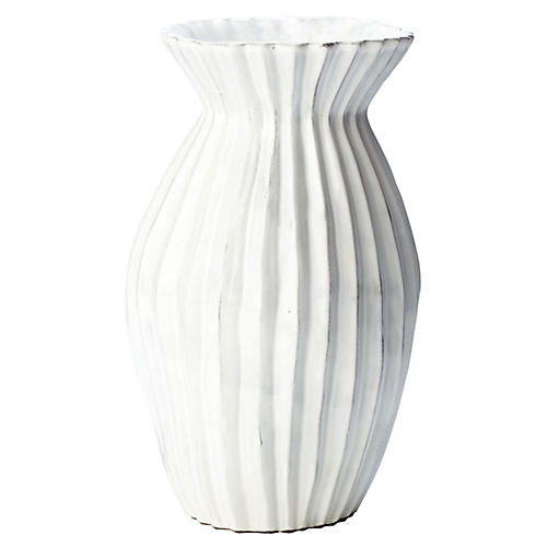 "8"" Incanto Pleated Vase, White"