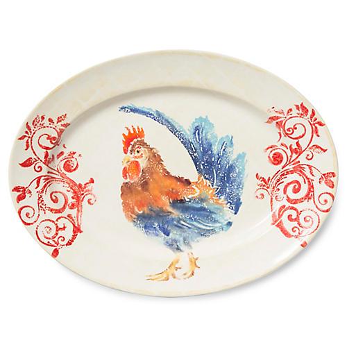 Gather Rooster Medium Oval Platter, White/Multi