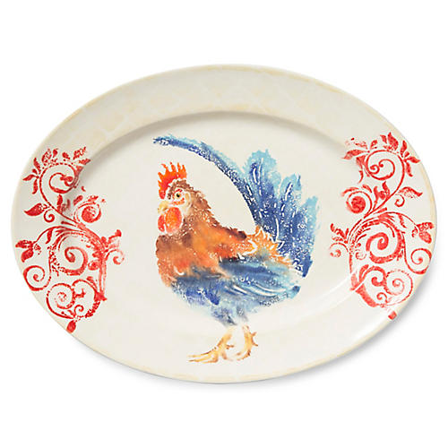 Gather Rooster Medium Oval Platter, White/Multi