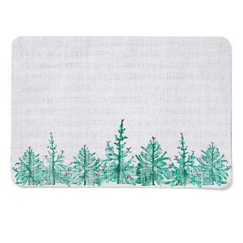 Lastra Reversible Place Mat, Green/Multi