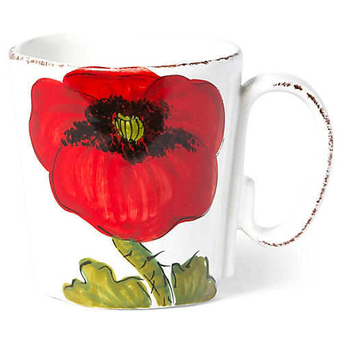 Lastra Poppy Mug, Red/Multi
