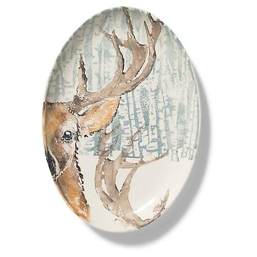 Into the Woods Deer Oval Platter, White/Multi