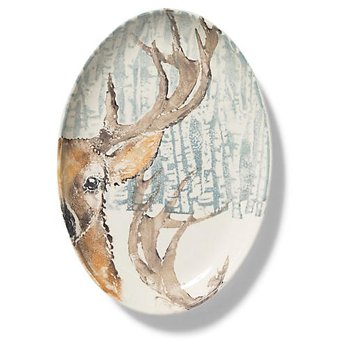 Into the Woods Deer Oval Platter, White/Multi
