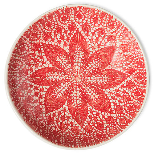 Viva Lace Pasta Bowl, Red/White