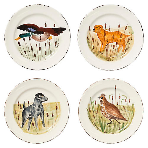 Asst. of 4 Wildlife Dinner Plates, White/Multi