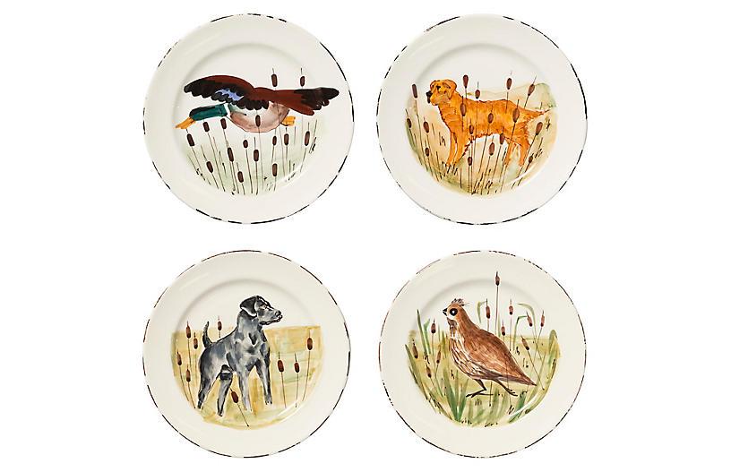 Asst. of 4 Wildlife Dinner Plates, White/Multi