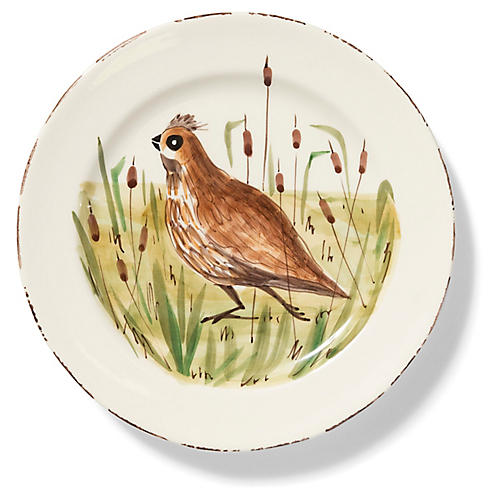 Wildlife Quail Dinner Plate, White/Multi