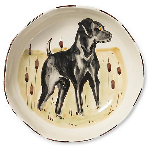 Wildlife Black Hunting Dog Pasta Bowl, White/Multi