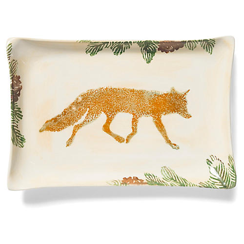 Foresta Fox Rectangular Platter, Ivory/Multi