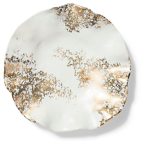 Scattered Matte Platter, White/Gold