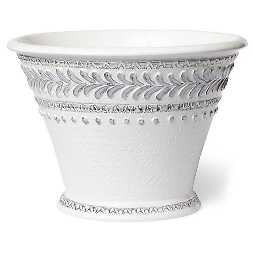 "17"" Mosaic Large Outdoor Cachepot, Cream/Blue"