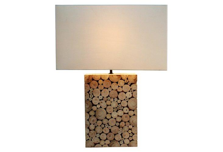 Wood Mosaic Lamp