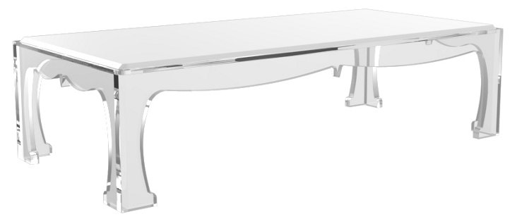 "Bronwyn 54"" Cocktail Table, White/Clear"