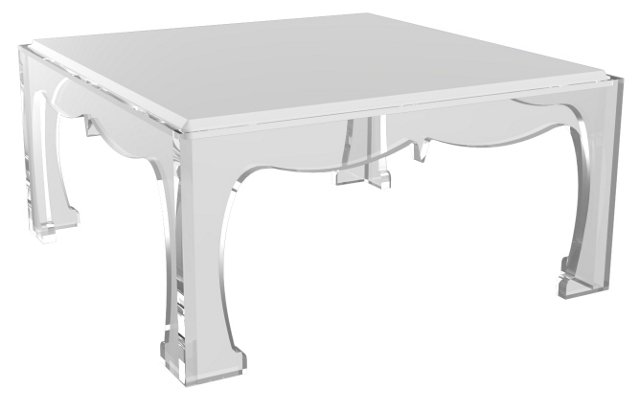 "Ellie 32"" Cocktail Table, White/Clear"