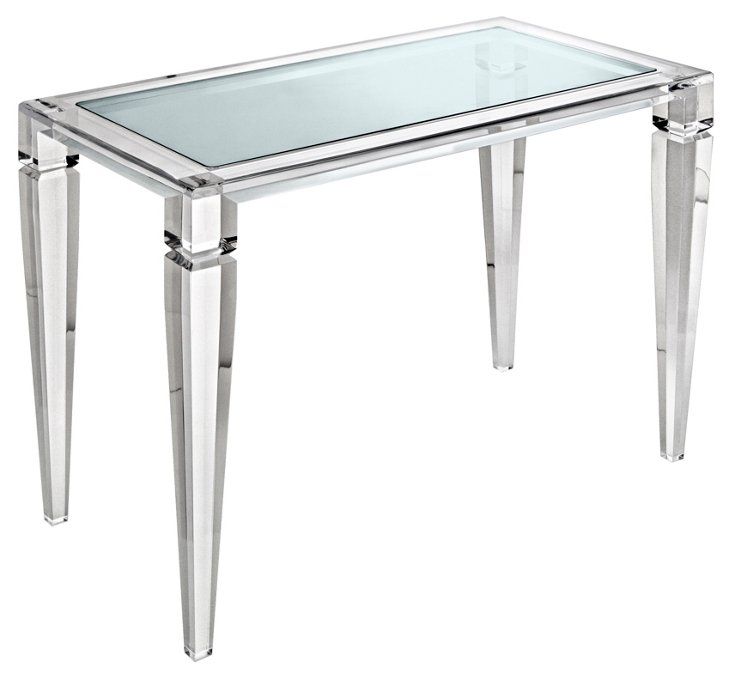 "Kyley 42"" Glass-Top Desk, Clear"