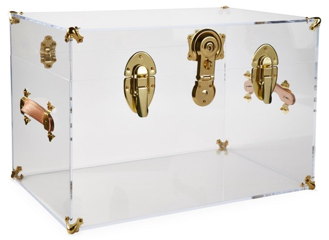 Payton Acrylic Trunk, Brass/Clear