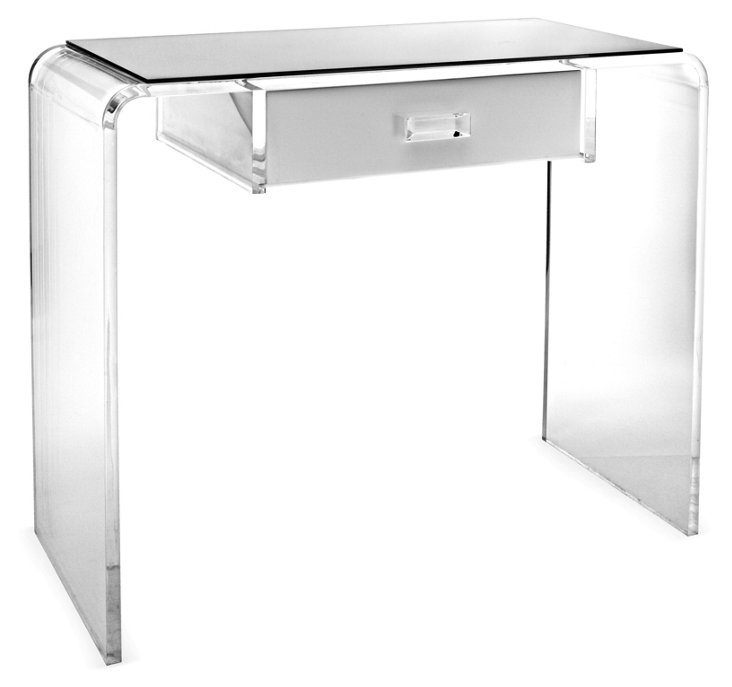 Waterfall Vanity Table, White/Clear