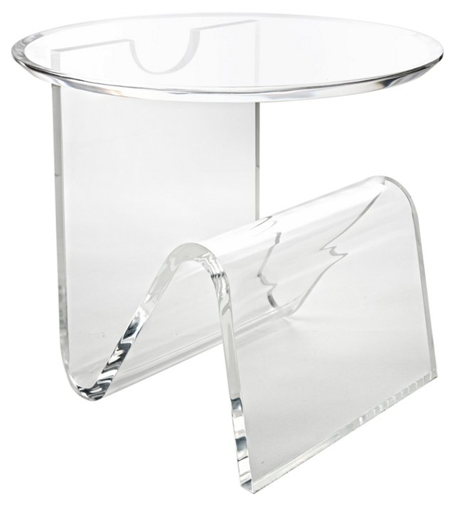 Round-Top Magazine Side Table, Clear
