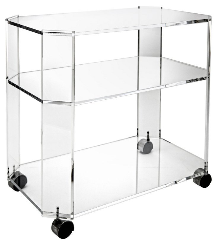 "Octagon 27"" TV Table, Clear"