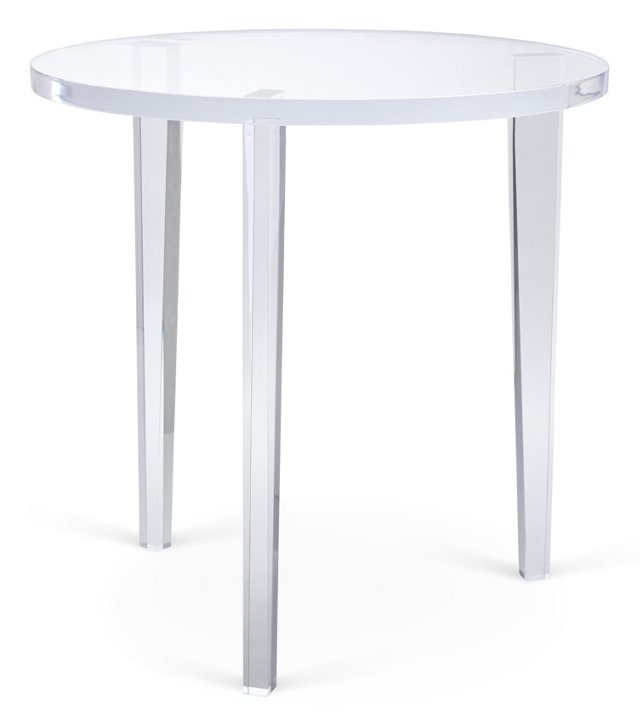 "Three-Legged 22"" Round Side Table, Clear"