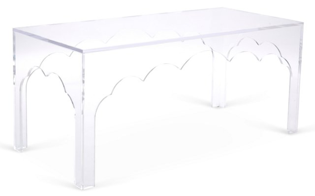 """Scallop 42"""" Coffee Table, Clear"""