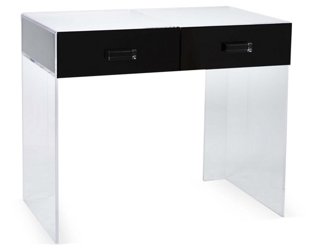 Square Vanity Table, Black/Clear