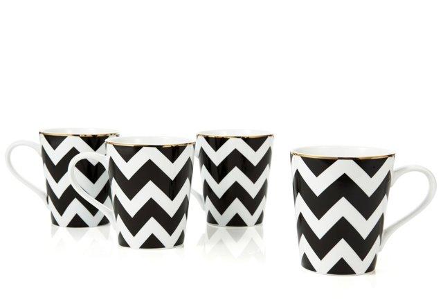 Set Of 4 Chevron Pattern Coffee Mugs