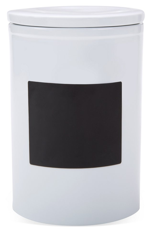 "10"" Chalkboard Canister, White"
