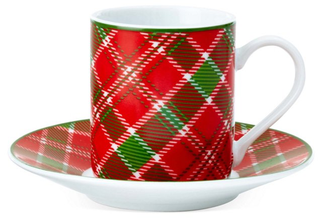 S/4 Espresso Cups & Saucers, Red/Green