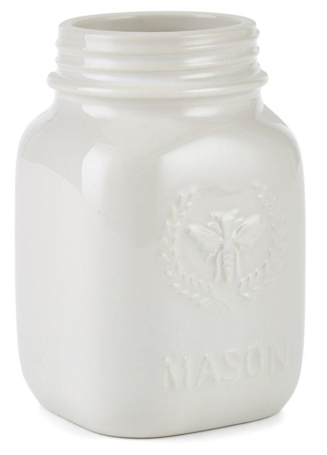 S/2 Bee Mason Jars, Cream