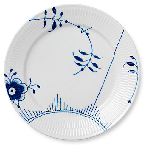 Fluted Mega Dinner Plate, Light Blue/White