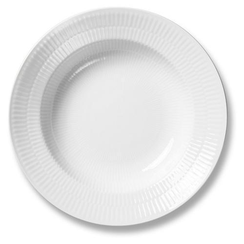 "White Fluted Rim Soup Bowl, 8.25"""