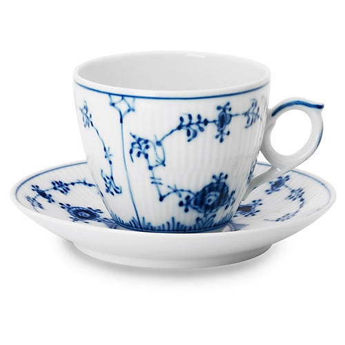 Blue Plain Coffee Cup & Saucer