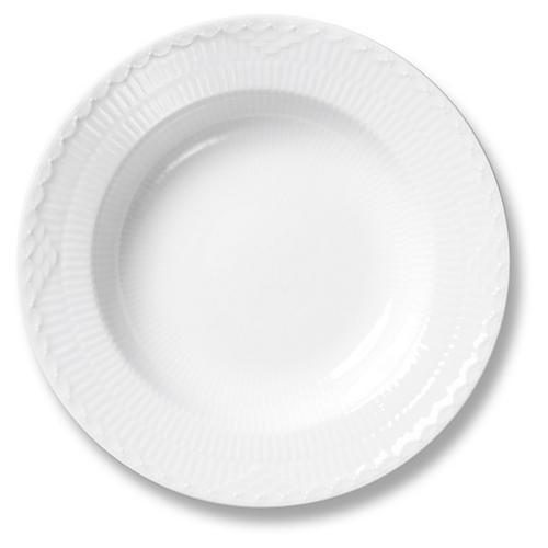 """White Half Lace Rimmed Soup Bowl, 8.25"""""""