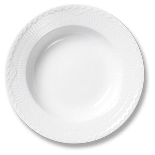 White Half Lace Rimmed Soup Bowl, 8.25""