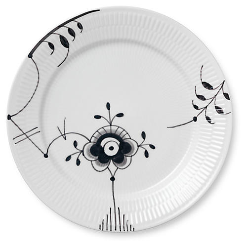 Fluted Mega VI Dinner Plate, Black/White