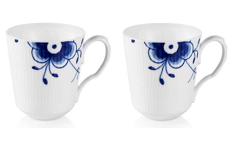 S/2 Fluted Mega Coffee Mugs, Blue/White