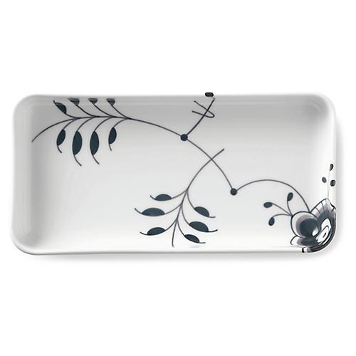 Fluted Mega Oblong Serving Plate, Black/White