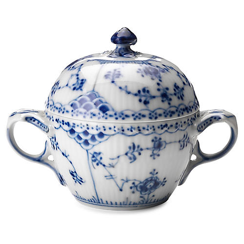 Half-Lace Fluted Sugar Bowl, Blue/White