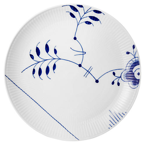 Fluted Mega Dessert Plate, Blue/White