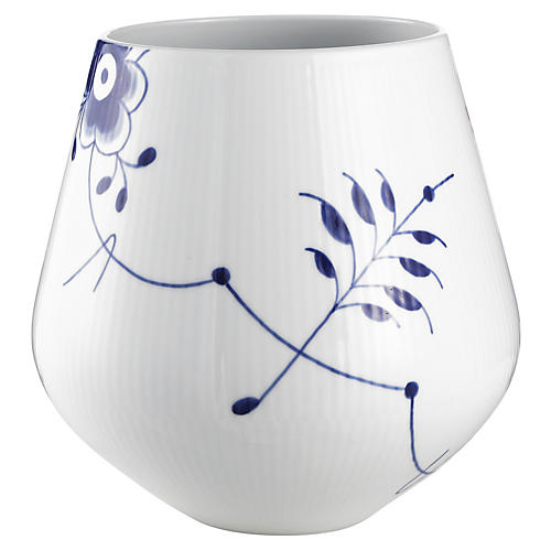 Fluted Mega Vase, Blue/White