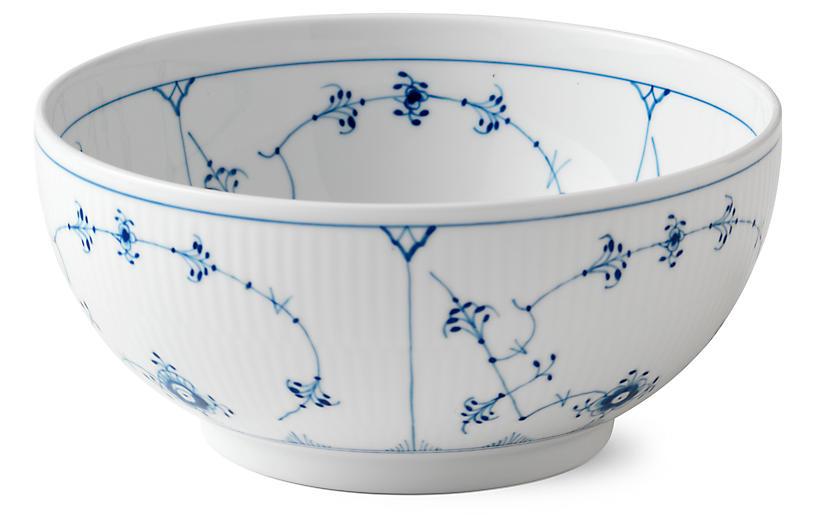 Fluted Plain Serving Bowl, Blue/White